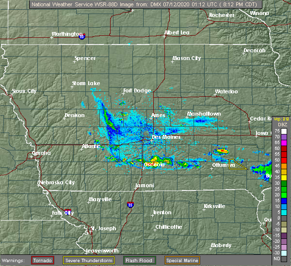 Radar Image for Severe Thunderstorms near Lucas, IA at 7/11/2020 8:17 PM CDT