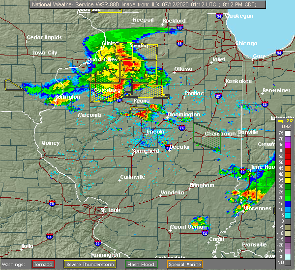 Radar Image for Severe Thunderstorms near East Peoria, IL at 7/11/2020 8:17 PM CDT