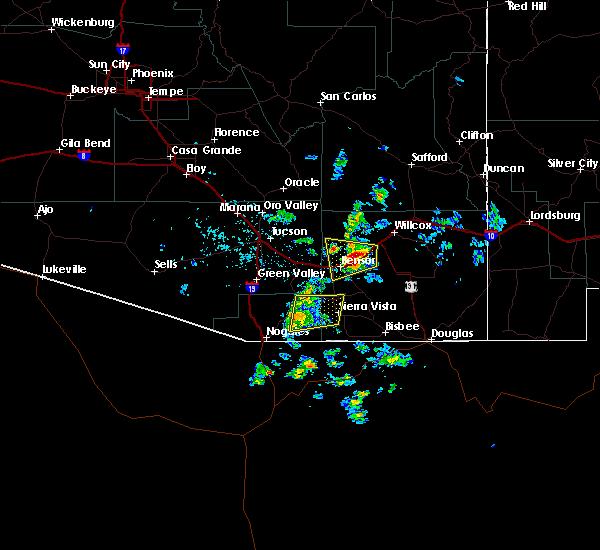 Radar Image for Severe Thunderstorms near Benson, AZ at 7/11/2020 6:18 PM MST