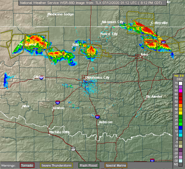 Radar Image for Severe Thunderstorms near Morrison, OK at 7/11/2020 8:23 PM CDT