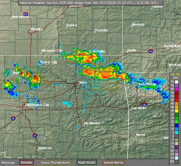 Radar Image for Severe Thunderstorms near Cherokee City, OK at 7/11/2020 8:30 PM CDT