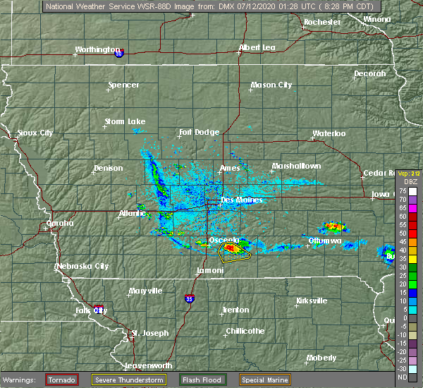 Radar Image for Severe Thunderstorms near Lucas, IA at 7/11/2020 8:30 PM CDT