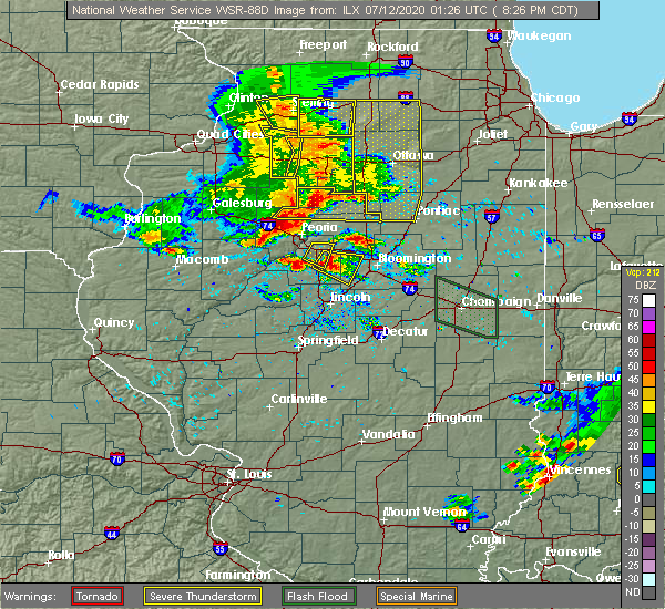 Radar Image for Severe Thunderstorms near Mapleton, IL at 7/11/2020 8:31 PM CDT