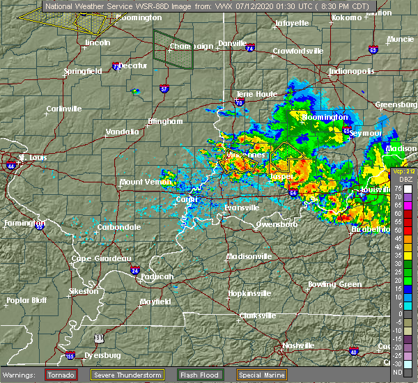 Radar Image for Severe Thunderstorms near Vincennes, IN at 7/11/2020 9:33 PM EDT