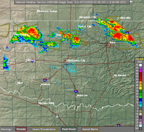 Radar Image for Severe Thunderstorms near Morrison, OK at 7/11/2020 8:34 PM CDT