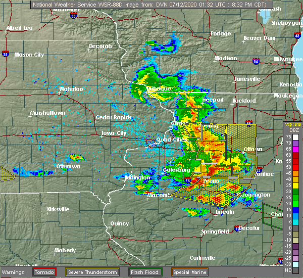 Radar Image for Severe Thunderstorms near Harmon, IL at 7/11/2020 8:38 PM CDT