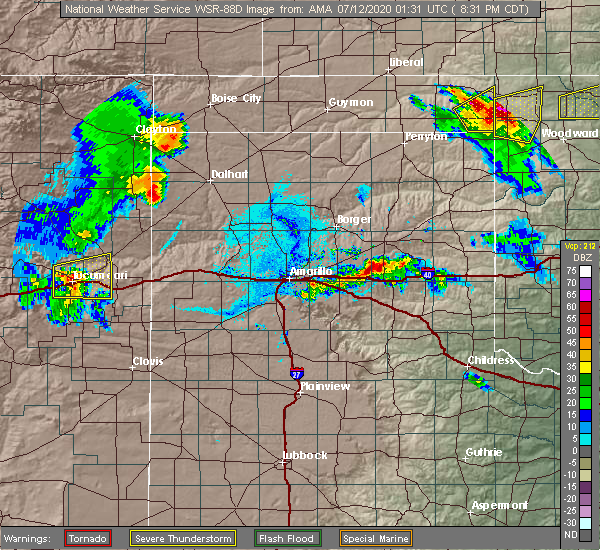 Radar Image for Severe Thunderstorms near Howardwick, TX at 7/11/2020 8:38 PM CDT