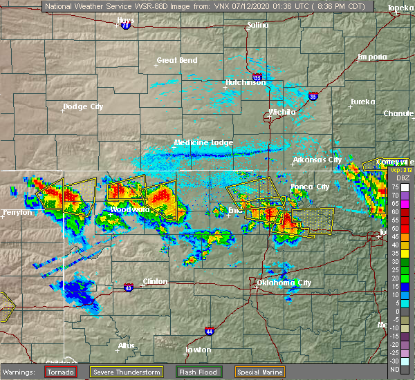 Radar Image for Severe Thunderstorms near Medford, OK at 7/11/2020 8:39 PM CDT