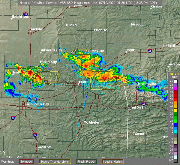 Radar Image for Severe Thunderstorms near Cherokee City, OK at 7/11/2020 8:42 PM CDT