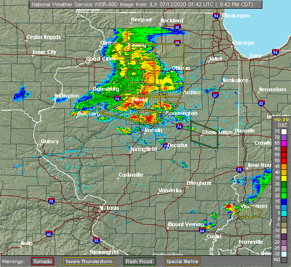 Radar Image for Severe Thunderstorms near Washburn, IL at 7/11/2020 8:45 PM CDT