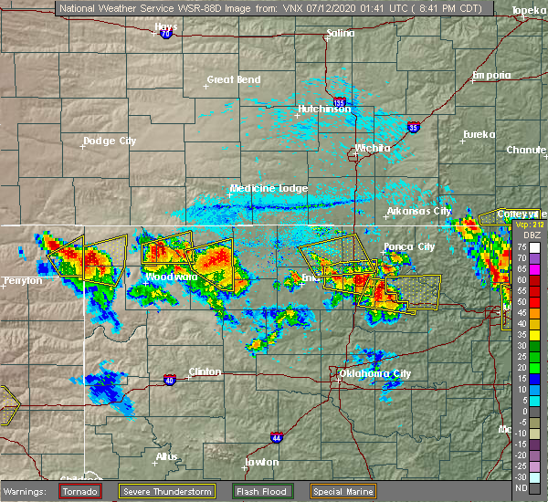 Radar Image for Severe Thunderstorms near Medford, OK at 7/11/2020 8:47 PM CDT