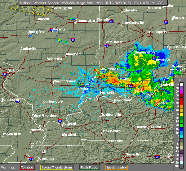 Radar Image for Severe Thunderstorms near Lynnville, IN at 7/11/2020 9:59 PM EDT