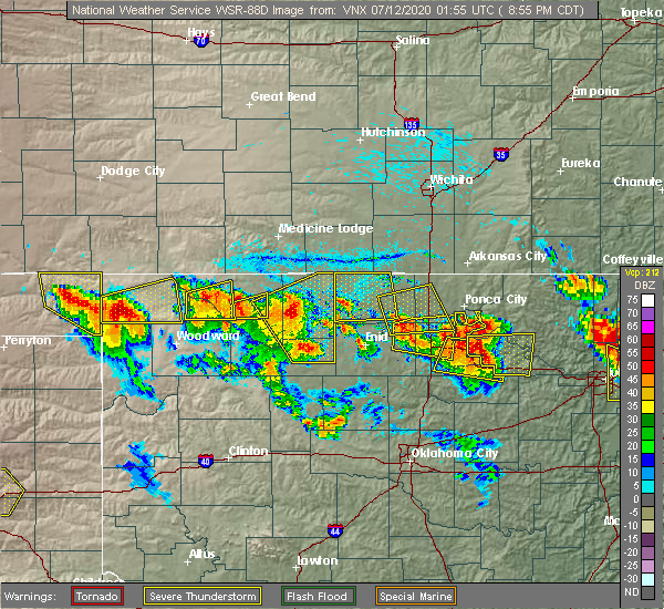 Radar Image for Severe Thunderstorms near Cleo Springs, OK at 7/11/2020 8:58 PM CDT