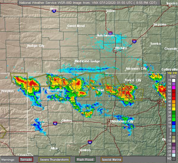 Radar Image for Severe Thunderstorms near Alva, OK at 7/11/2020 9:00 PM CDT