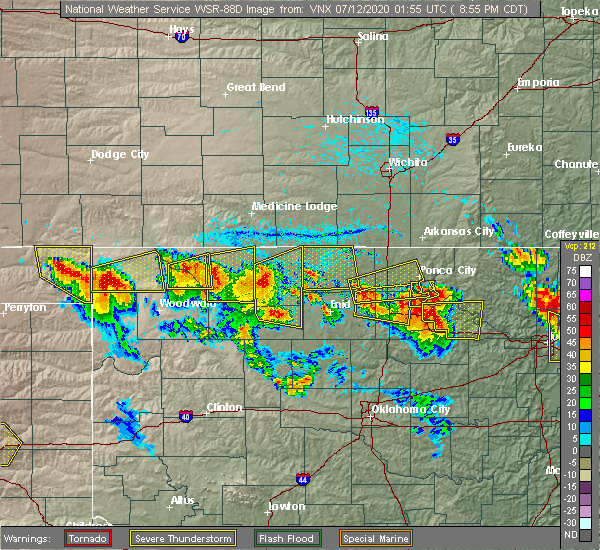 Radar Image for Severe Thunderstorms near Tonkawa, OK at 7/11/2020 9:03 PM CDT