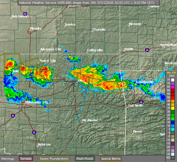 Radar Image for Severe Thunderstorms near Park Hill, OK at 7/11/2020 9:10 PM CDT
