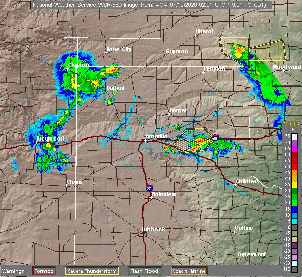 Radar Image for Severe Thunderstorms near Howardwick, TX at 7/11/2020 9:27 PM CDT