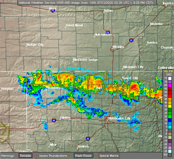 Radar Image for Severe Thunderstorms near Ponca City, OK at 7/11/2020 9:32 PM CDT