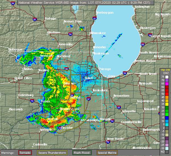 Radar Image for Severe Thunderstorms near Yorkville, IL at 7/11/2020 9:34 PM CDT