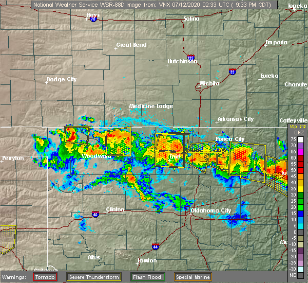 Radar Image for Severe Thunderstorms near Morrison, OK at 7/11/2020 9:36 PM CDT