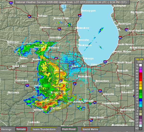 Radar Image for Severe Thunderstorms near Reddick, IL at 7/11/2020 9:41 PM CDT