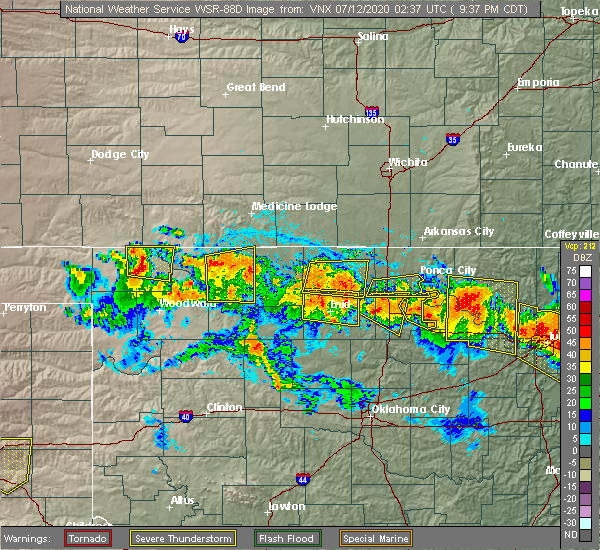 Radar Image for Severe Thunderstorms near Waldron, KS at 7/11/2020 9:41 PM CDT