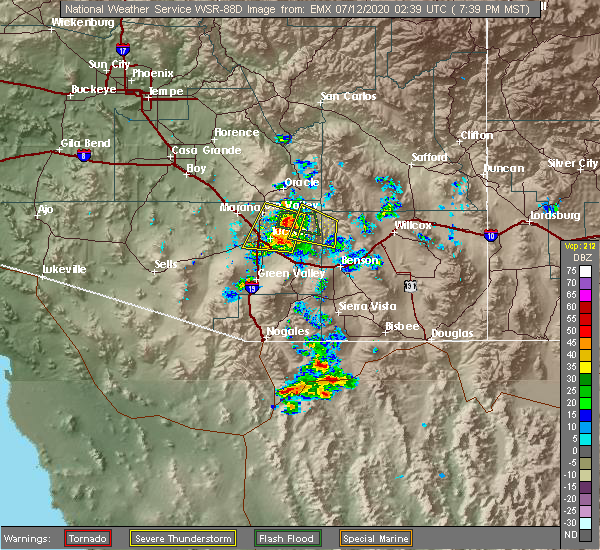 Radar Image for Severe Thunderstorms near Valencia West, AZ at 7/11/2020 7:42 PM MST