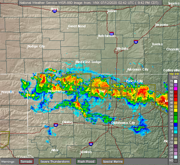 Radar Image for Severe Thunderstorms near Perry, OK at 7/11/2020 9:44 PM CDT