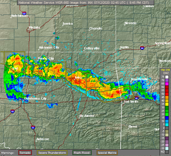 Radar Image for Severe Thunderstorms near Mazie, OK at 7/11/2020 9:51 PM CDT