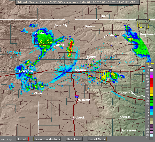 Radar Image for Severe Thunderstorms near Fritch, TX at 7/11/2020 9:50 PM CDT