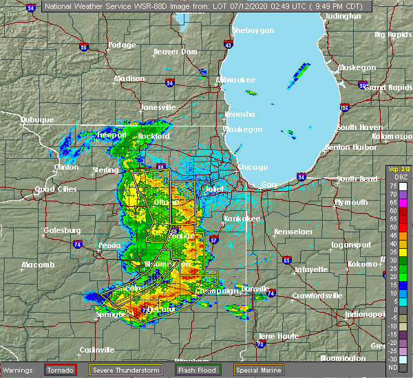 Radar Image for Severe Thunderstorms near Montgomery, IL at 7/11/2020 9:53 PM CDT