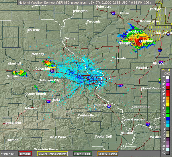 Radar Image for Severe Thunderstorms near Martinsburg, MO at 7/11/2020 9:59 PM CDT
