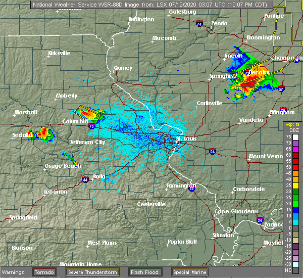 Radar Image for Severe Thunderstorms near Martinsburg, MO at 7/11/2020 10:14 PM CDT