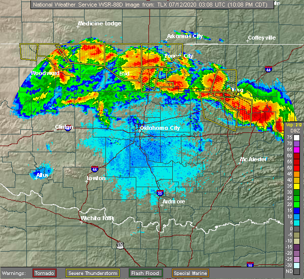 Radar Image for Severe Thunderstorms near Mulhall, OK at 7/11/2020 10:13 PM CDT