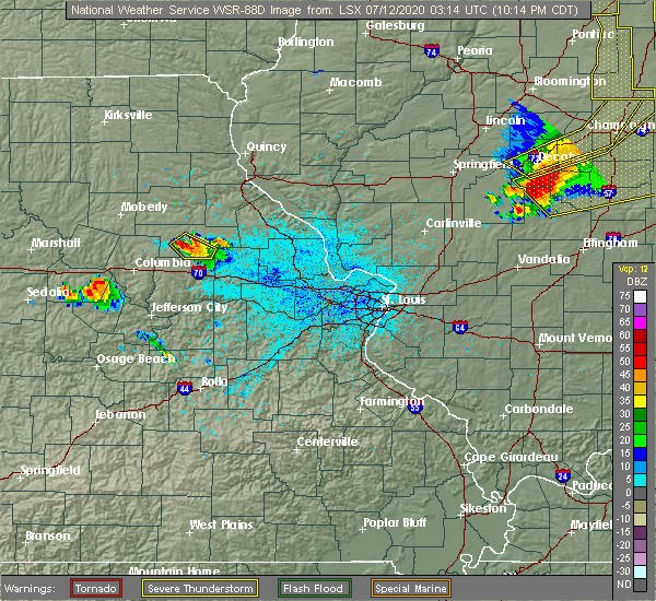 Radar Image for Severe Thunderstorms near Martinsburg, MO at 7/11/2020 10:18 PM CDT