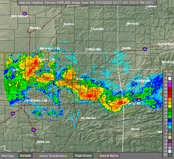 Radar Image for Severe Thunderstorms near Checotah, OK at 7/11/2020 10:22 PM CDT