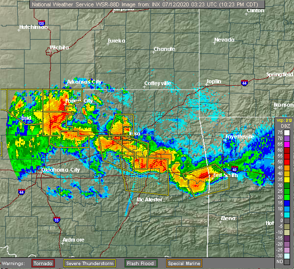 Radar Image for Severe Thunderstorms near Vera, OK at 7/11/2020 10:27 PM CDT