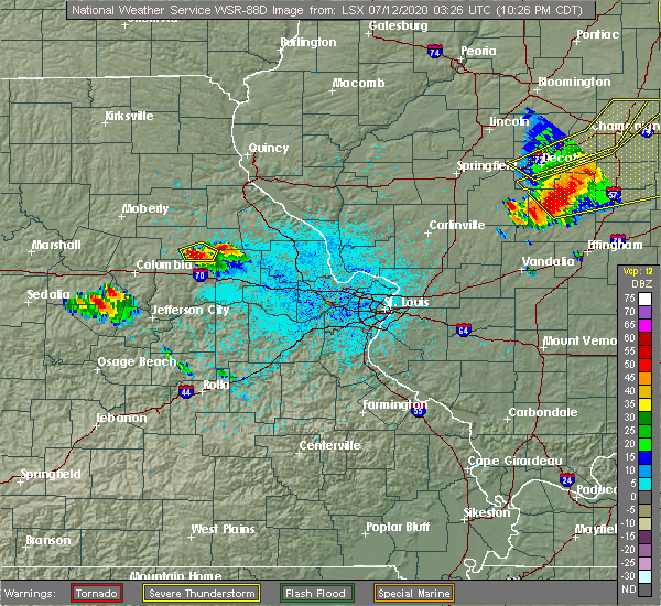 Radar Image for Severe Thunderstorms near Martinsburg, MO at 7/11/2020 10:29 PM CDT