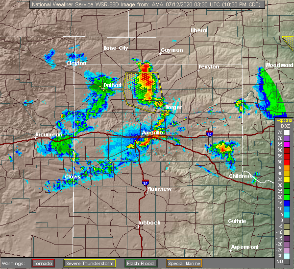 Radar Image for Severe Thunderstorms near Fritch, TX at 7/11/2020 10:33 PM CDT