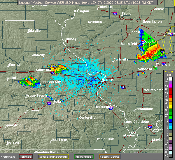 Radar Image for Severe Thunderstorms near Martinsburg, MO at 7/11/2020 10:37 PM CDT