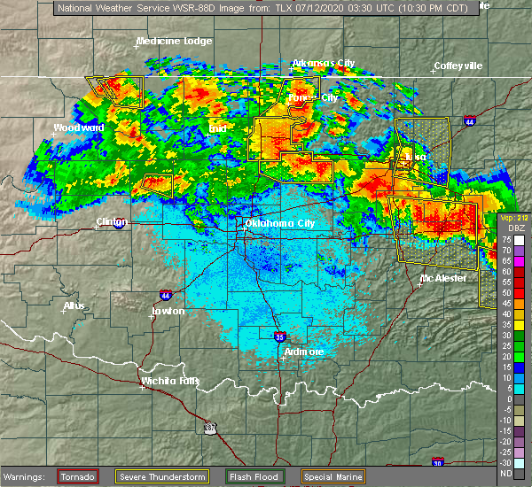 Radar Image for Severe Thunderstorms near Mulhall, OK at 7/11/2020 10:38 PM CDT