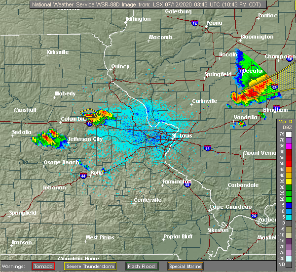 Radar Image for Severe Thunderstorms near Martinsburg, MO at 7/11/2020 10:45 PM CDT