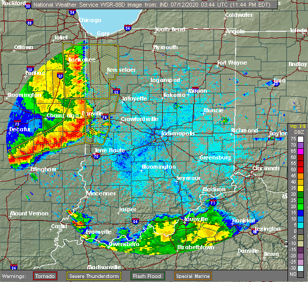Radar Image for Severe Thunderstorms near St. Bernice, IN at 7/11/2020 11:50 PM EDT