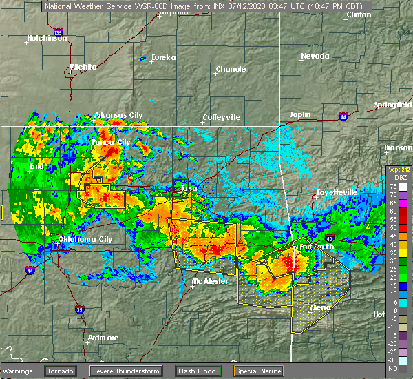 Radar Image for Severe Thunderstorms near Bristow, OK at 7/11/2020 10:51 PM CDT