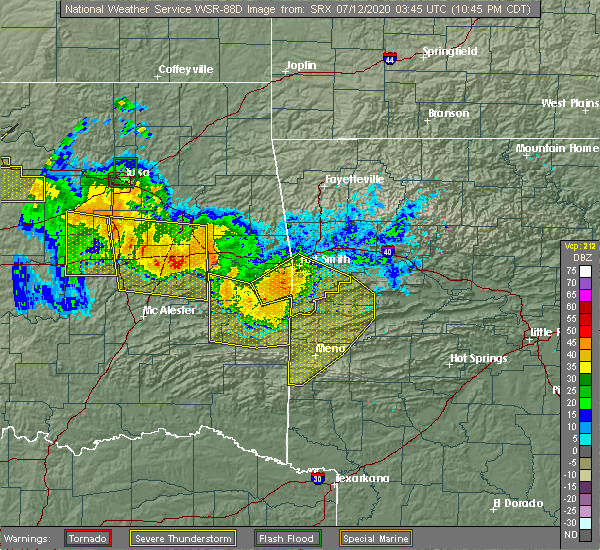 Radar Image for Severe Thunderstorms near Huntington, AR at 7/11/2020 10:53 PM CDT