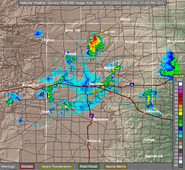 Radar Image for Severe Thunderstorms near Optima, OK at 7/11/2020 11:04 PM CDT