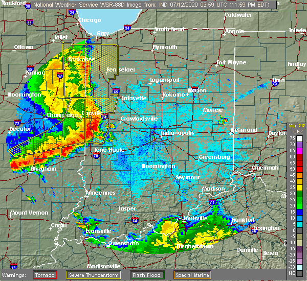 Radar Image for Severe Thunderstorms near St. Bernice, IN at 7/12/2020 12:05 AM EDT