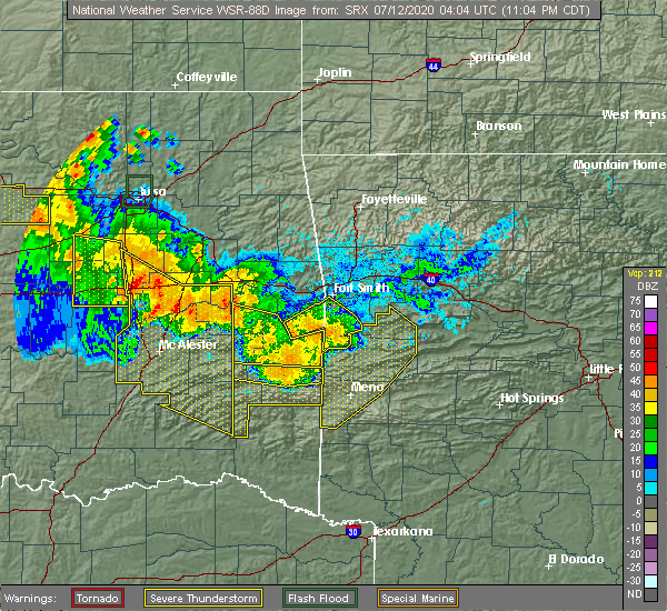 Radar Image for Severe Thunderstorms near Huntington, AR at 7/11/2020 11:07 PM CDT