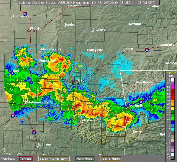 Radar Image for Severe Thunderstorms near Henryetta, OK at 7/11/2020 11:13 PM CDT