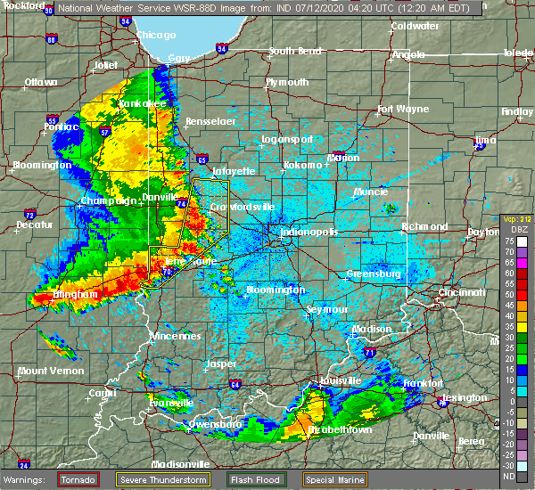 Radar Image for Severe Thunderstorms near St. Bernice, IN at 7/12/2020 12:26 AM EDT